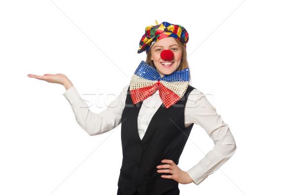 Mooie vrouwelijke clown geïsoleerd witte vrouw Stockfoto © Elnur
