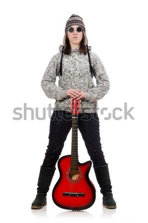 Stock fotó: Nő · gitáros · izolált · fehér · buli · fém
