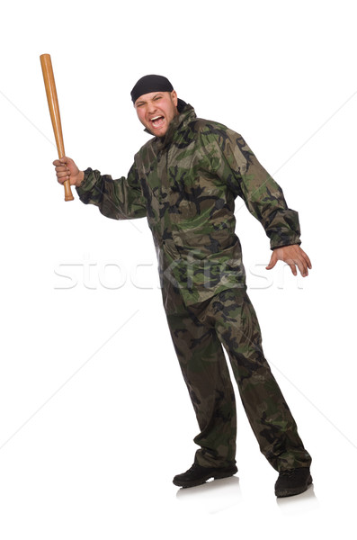Young man in soldier uniform holding bludgeon isolated on white Stock photo © Elnur