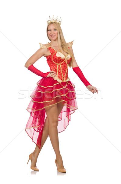 королева красное платье изолированный белый женщину костюм Сток-фото © Elnur