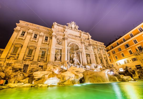 Szökőkút este Róma víz város naplemente Stock fotó © Elnur