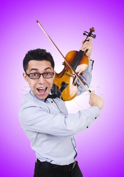 Funny man with violin on white Stock photo © Elnur