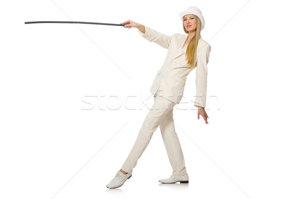 Blond hair girl with walking stick isolated on white Stock photo © Elnur