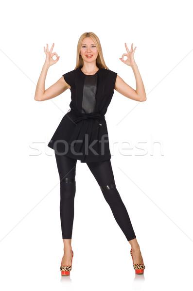 Mooie vrouw strak zwarte broek geïsoleerd witte mode Stockfoto © Elnur