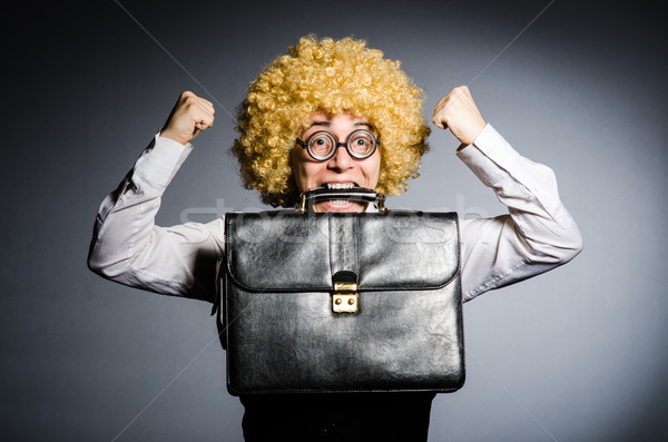 Komik işadamı kıvırcık saçlı adam mutlu çalışmak Stok fotoğraf © Elnur