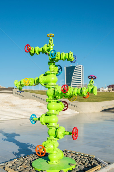 Modern art installation with oil industry piping Stock photo © Elnur