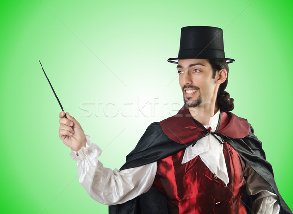 Magicien blanche main costume noir théâtre Photo stock © Elnur