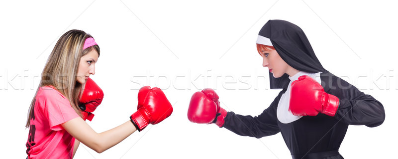 Sportsman and nun boxing isolated on white Stock photo © Elnur