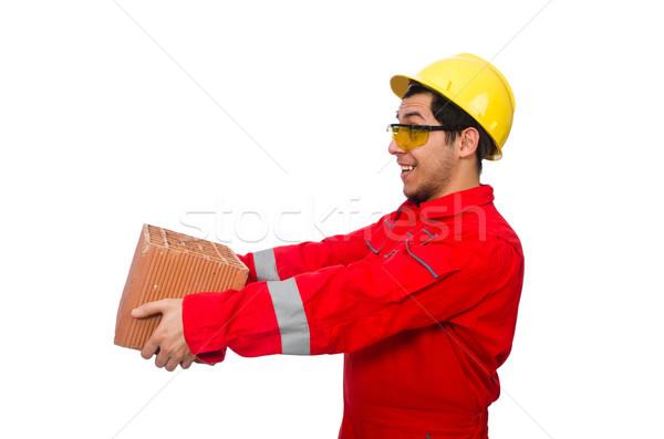 Stock fotó: építőmunkás · agyag · téglák · fehér · építkezés · háttér