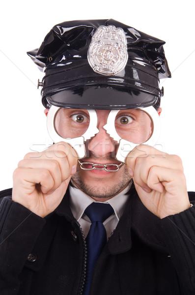 Funny policjant odizolowany biały człowiek ciało Zdjęcia stock © Elnur
