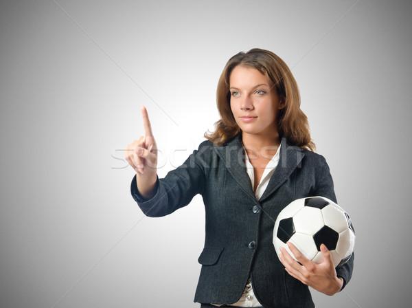 Stockfoto: Zakenvrouw · voetbal · witte · werk · sport · achtergrond