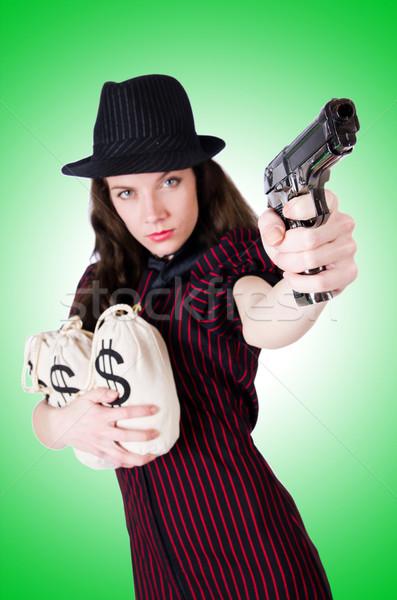 Frau Gangster Handfeuerwaffe weiß Modell Hintergrund Stock foto © Elnur