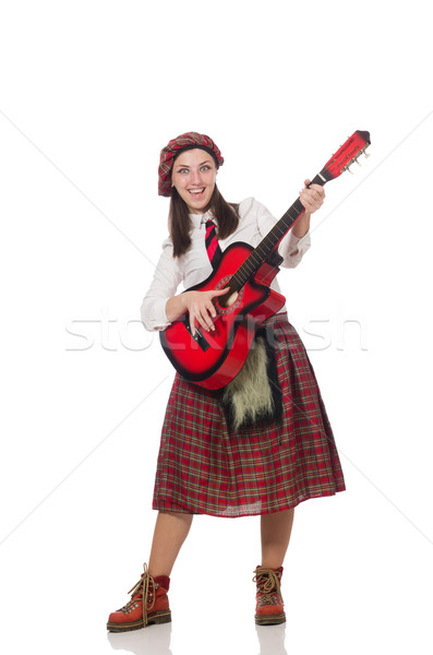 Woman in scottish clothing with guitar Stock photo © Elnur