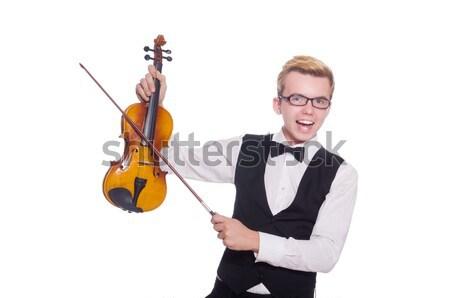 Fiatal vicces hegedű játékos izolált fehér Stock fotó © Elnur