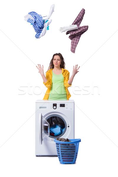 Donna sentimento sporca lavanderia casa felice Foto d'archivio © Elnur