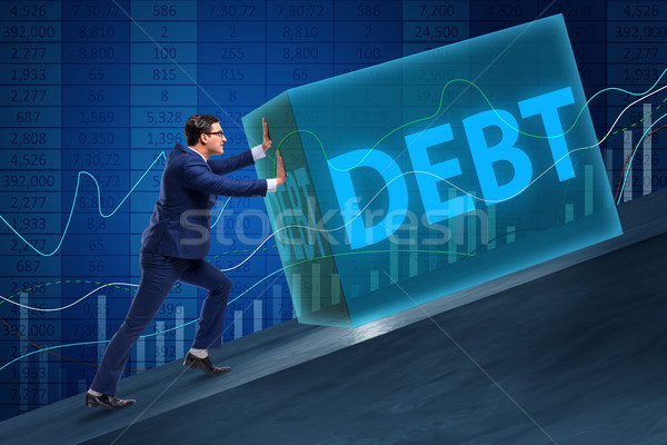Stockfoto: Zakenman · schuld · business · geld · man · bank