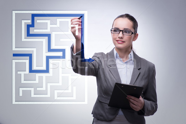 Businesswoman with maze in difficult situations concept Stock photo © Elnur