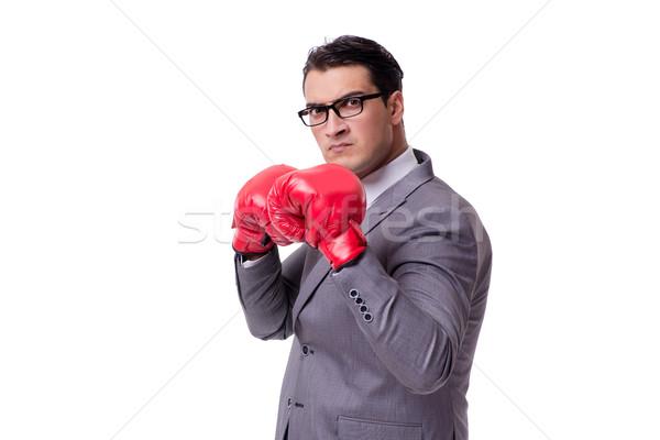 бизнесмен бокса изолированный белый бизнеса человека Сток-фото © Elnur
