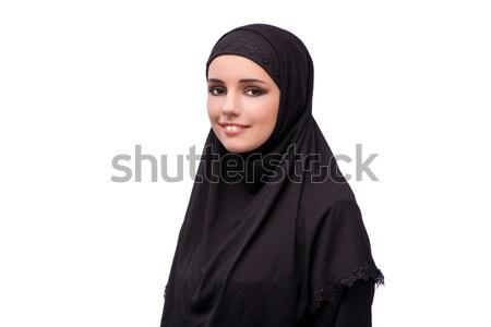 Muszlim nő fekete ruha izolált fehér lány Stock fotó © Elnur