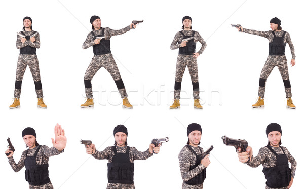 The soldier with gun isolated on white Stock photo © Elnur