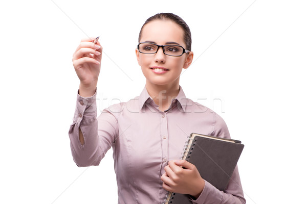 Businesswoman pressing virtual button isolated on white Stock photo © Elnur