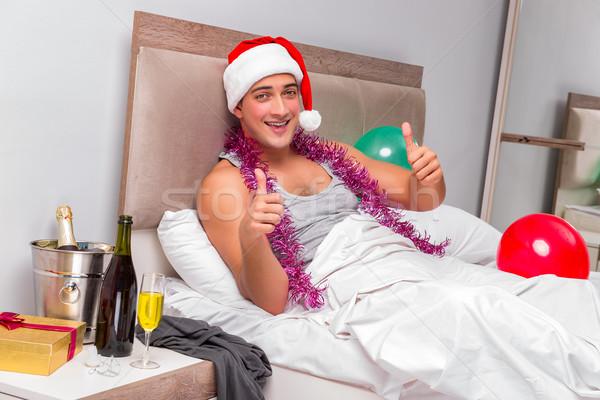 Młody człowiek kac ciężki imprezy wina pracy Zdjęcia stock © Elnur
