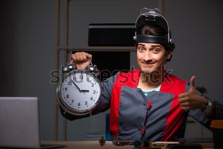 Man prisoner with clock isolated on white Stock photo © Elnur