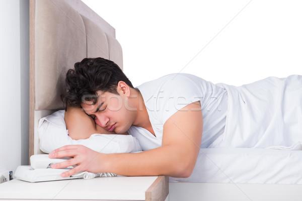 男 ベッド 不眠症 電話 電話 ストックフォト © Elnur