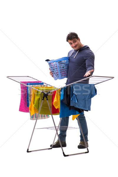 Stockfoto: Echtgenoot · man · wasserij · geïsoleerd · witte · glimlach