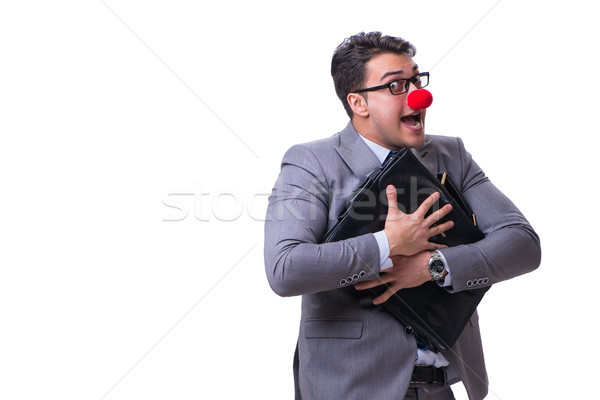 смешные клоуна портфель белый лице человека Сток-фото © Elnur