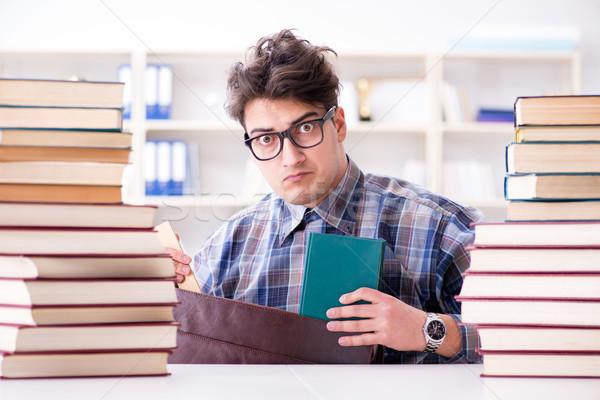 Nerd funny estudiante Universidad exámenes educación Foto stock © Elnur