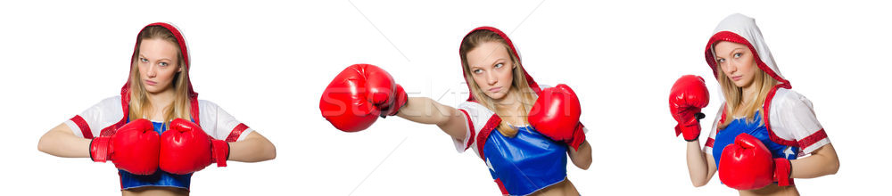 Female boxer isolated on the white background Stock photo © Elnur
