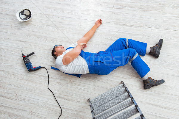 The worker after falling from height - unsafe behavior Stock photo © Elnur