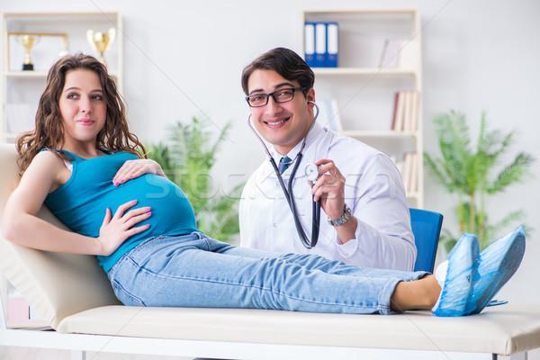 Foto stock: Mulher · grávida · médico · médico · menina · homem · saúde