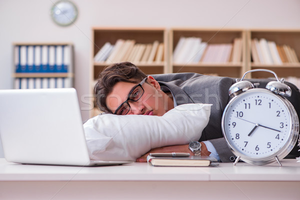 The tired man sleeping at home having too much work Stock photo © Elnur