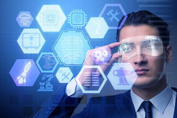 искусственный интеллект бизнесмен интернет технологий сеть мозг Сток-фото © Elnur