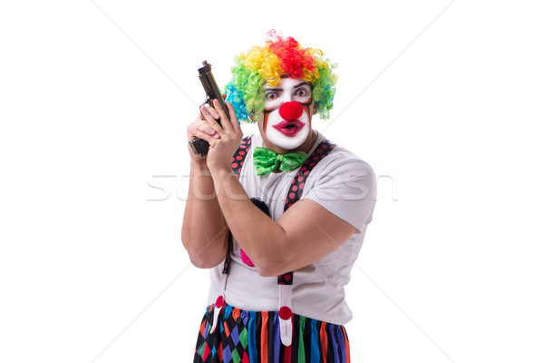 Funny clown with a gun pistol isolated on white background Stock photo © Elnur