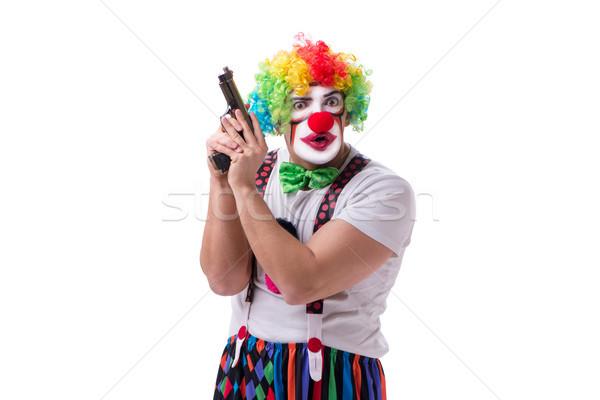 смешные клоуна пушки пистолет изолированный белый Сток-фото © Elnur