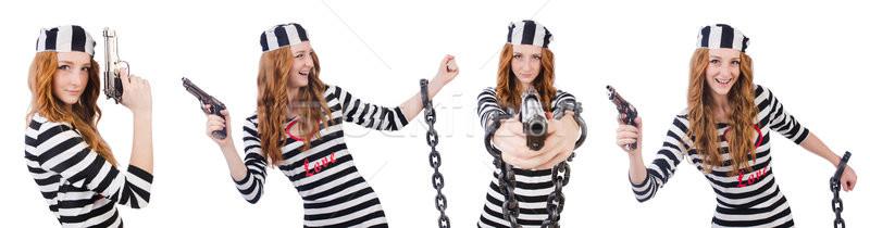 Gefangener gun isoliert weiß Lächeln Hintergrund Stock foto © Elnur