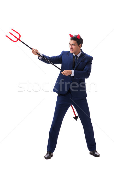 Evil devil businessman with pitchfork isolated on white backgrou Stock photo © Elnur