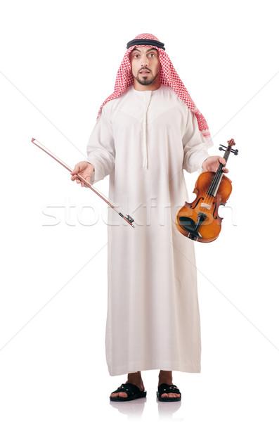 Arab férfi játszik hegedű izolált fehér Stock fotó © Elnur