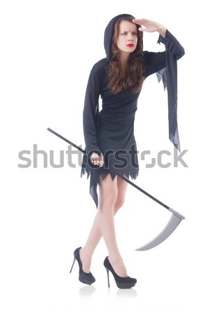 женщину Gangster пистолет белый Sexy модель Сток-фото © Elnur
