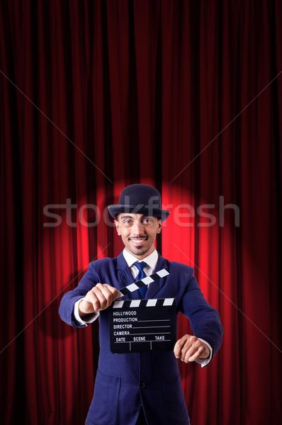 Сток-фото: человека · фильма · занавес · фильма · фон · черный