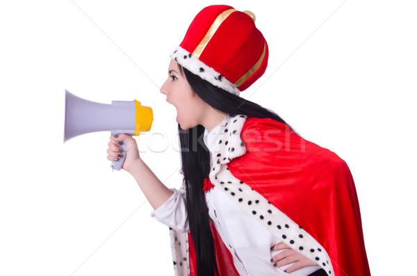 Königin Lautsprecher isoliert weiß Frau Arbeit Stock foto © Elnur