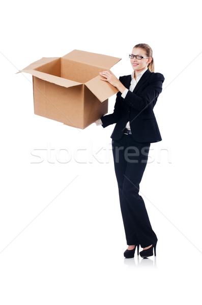 Vrouw zakenvrouw dozen witte business werk Stockfoto © Elnur