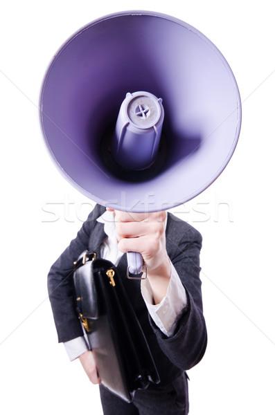 Jeunes affaires haut-parleur blanche affaires femme Photo stock © Elnur