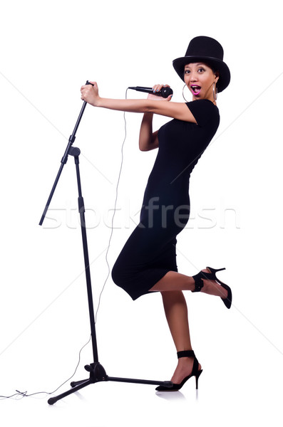 Stock photo: Afro-american female singer isolated on white