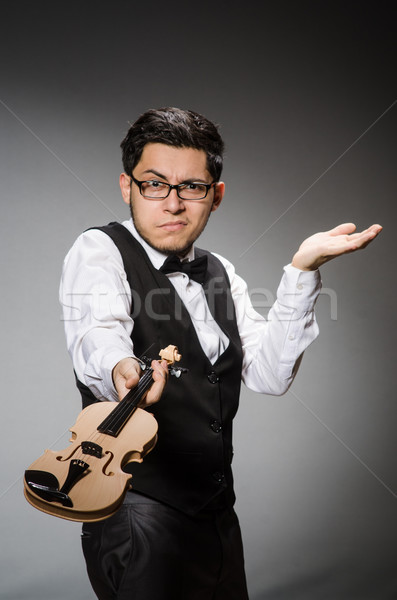 Funny violin player with fiddle Stock photo © Elnur