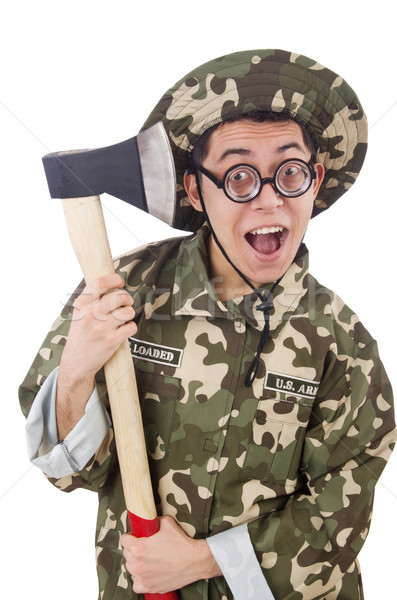 Stock photo: Funny soldier with the axe isolated on white