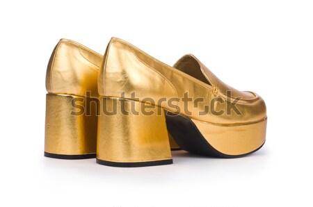 Altın kadın ayakkabı yalıtılmış beyaz moda Stok fotoğraf © Elnur